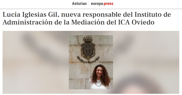 Lucia Iglesias Gil, nueva responsable del Instituto de Administración de la Mediación del ICA Oviedo